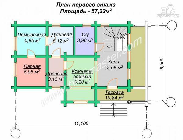 Фото 6: проект дом-баня с мансардным этажом, террасой и балконом
