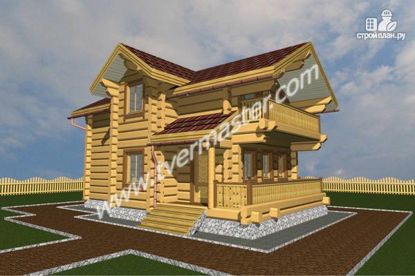 Фото: проект дом-баня с мансардным этажом, террасой и балконом