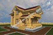 Проект дом-баня с мансардным этажом, террасой и балконом