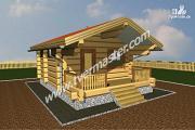 Проект баня из строганого соснового лафета с террасой