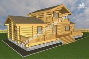 Проект дом-баня из строганого лафета с мансардным этажом, балконом и террасой