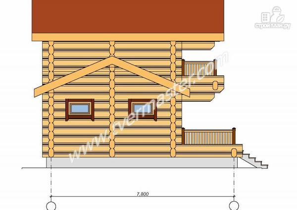 Фото 3: проект дом-баня из строганого лафета с мансардным этажом, балконом и террасой