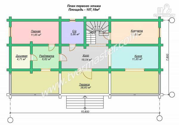 Фото 6: проект дом-баня из строганого лафета с мансардным этажом, балконом и террасой