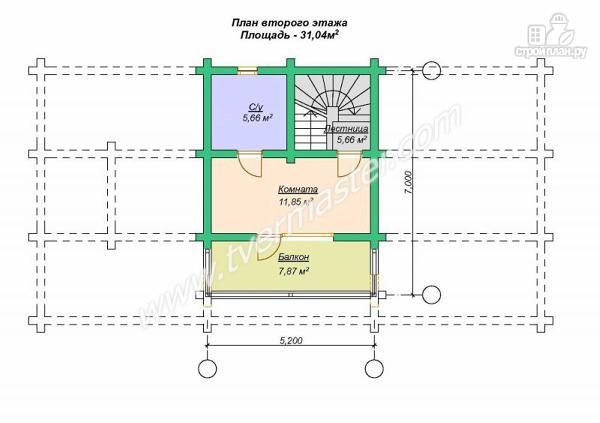 Фото 7: проект дом-баня из строганого лафета с мансардным этажом, балконом и террасой