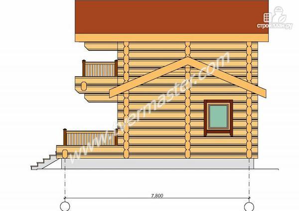 Фото 5: проект дом-баня из строганого лафета с мансардным этажом, балконом и террасой