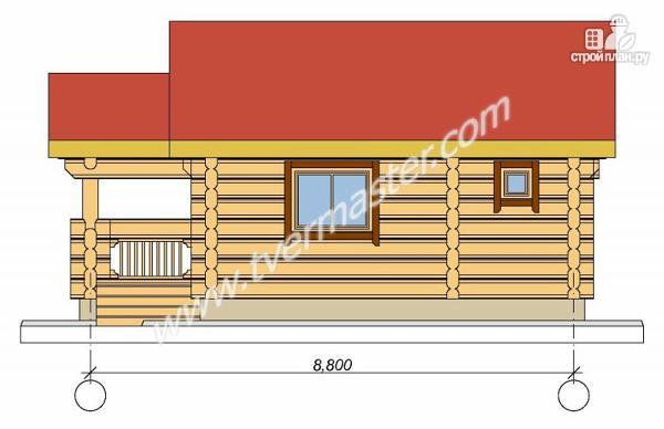 Фото 3: проект одноэтажная баня из строганого соснового лафета с террасой