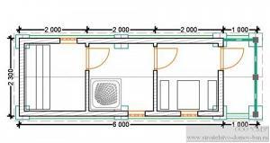 Баня из бруса 6х2,3 вход сбоку (брус 100*150)