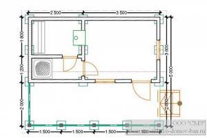 Баня из бруса 3х6 с крыльцом  (брус 100*150)