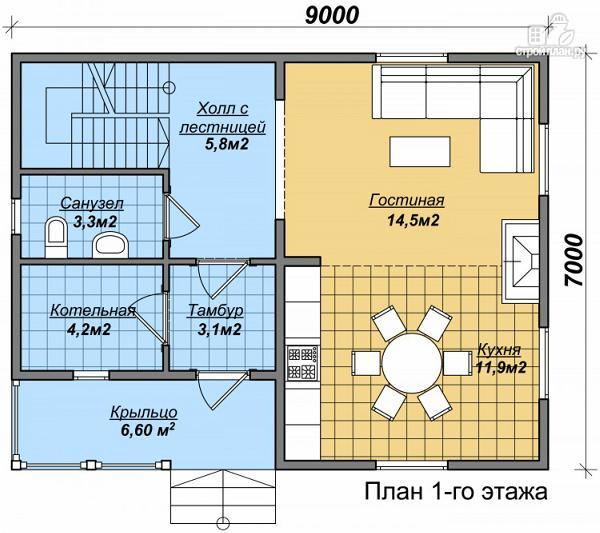 Фото 2: проект дом из бруса с просторной гостиной