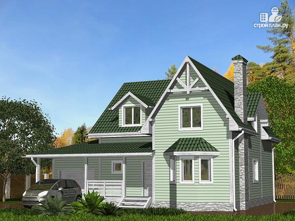 Фото: проект дом с большой кухней и гаражом, тремя спальнями и детской