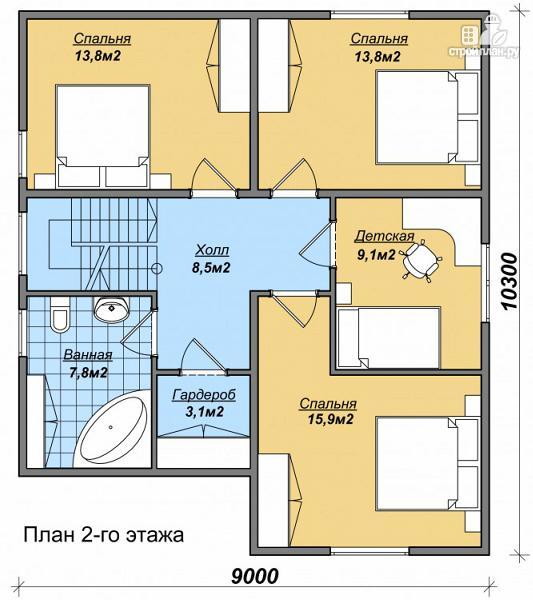 Фото 3: проект дом с большой кухней и гаражом, тремя спальнями и детской