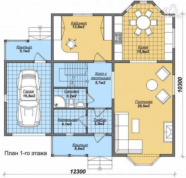 Фото 2: проект дом с большой кухней и гаражом, тремя спальнями и детской
